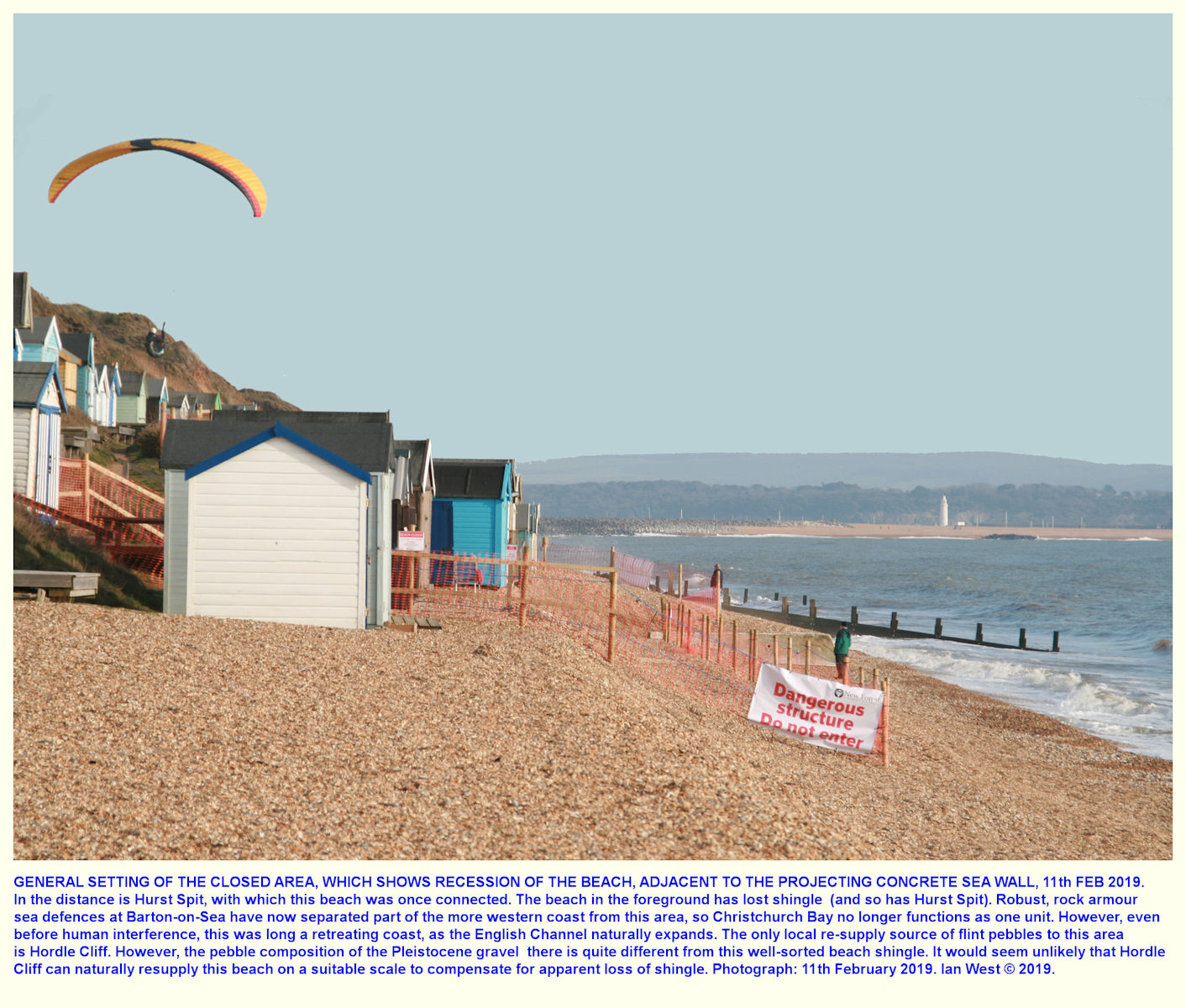 Huts, and a hang-glider, in an area of huts at some risk of erosion, near Hordle Cliff West, car park, 11th February 2019