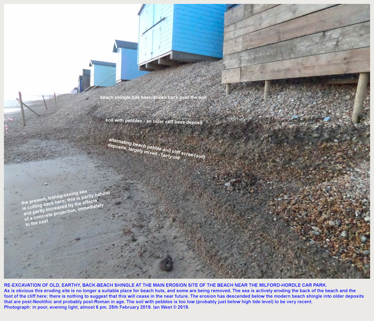 Details of erosion and exposed deposits near the eastern end of the beach stretch at Milford-on-Sea, Hordle Cliff (West) car park, 25th February 2019 - category huts