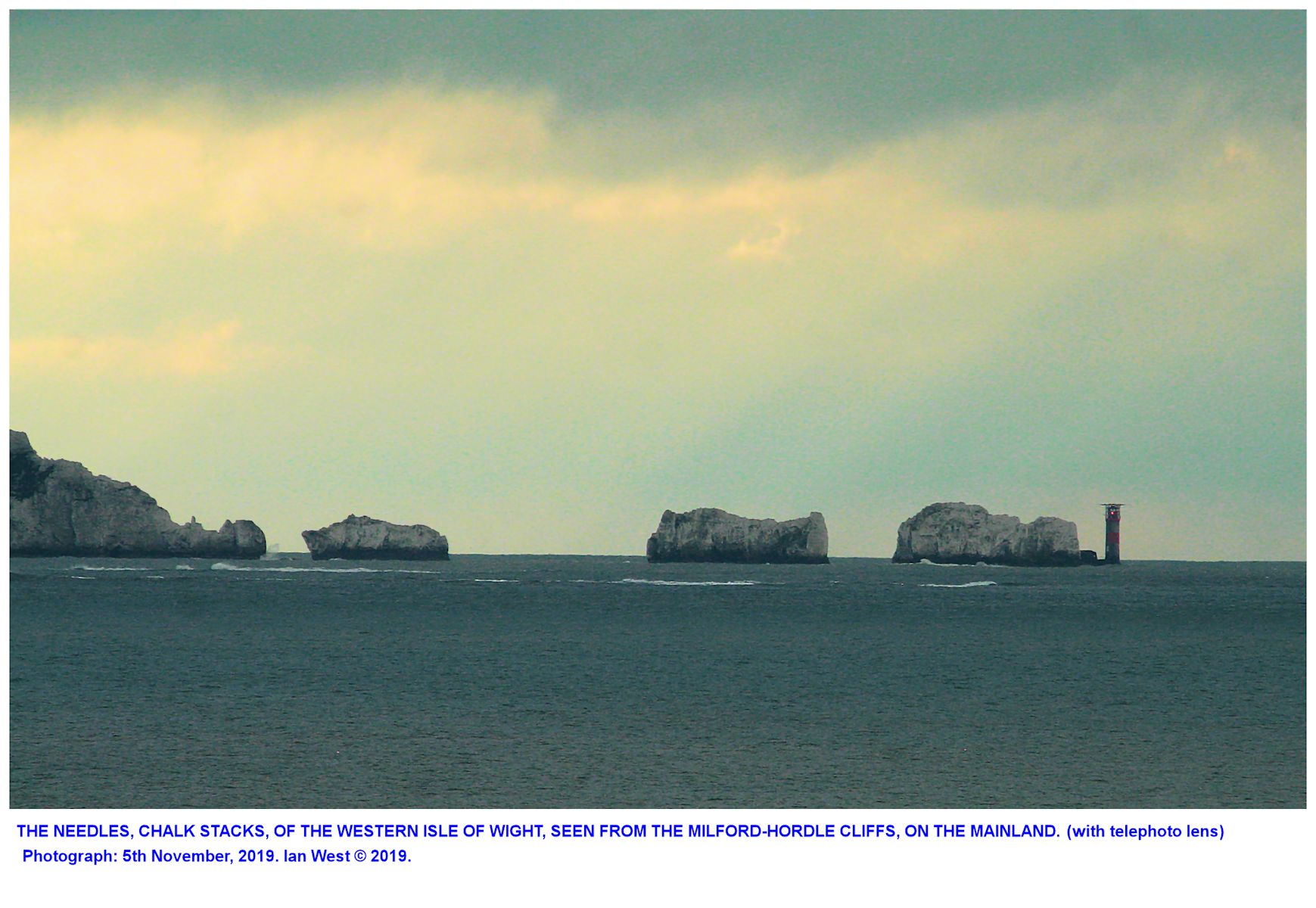 The Needles, Isle of Wight, as seen from the Milford-Hordle-West car park, 5th November 2019