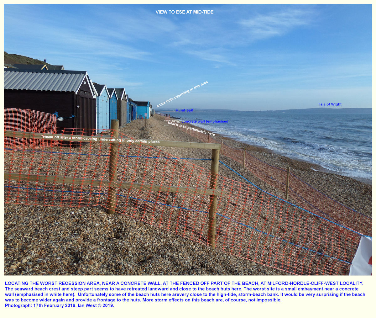 Fenced off area of beach huts, as seen on the 11th February 2019 at the beach near the Milford, Hordle Cliff West car park