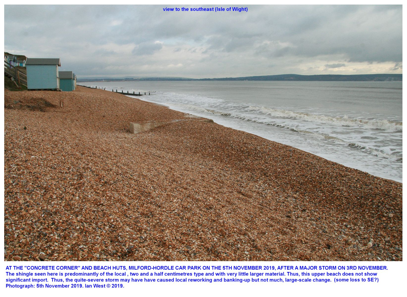 The shingle beach at Milford - Hordle Cliff West, car park, in relatively stable condition on the 5th November 2019, although after a storm