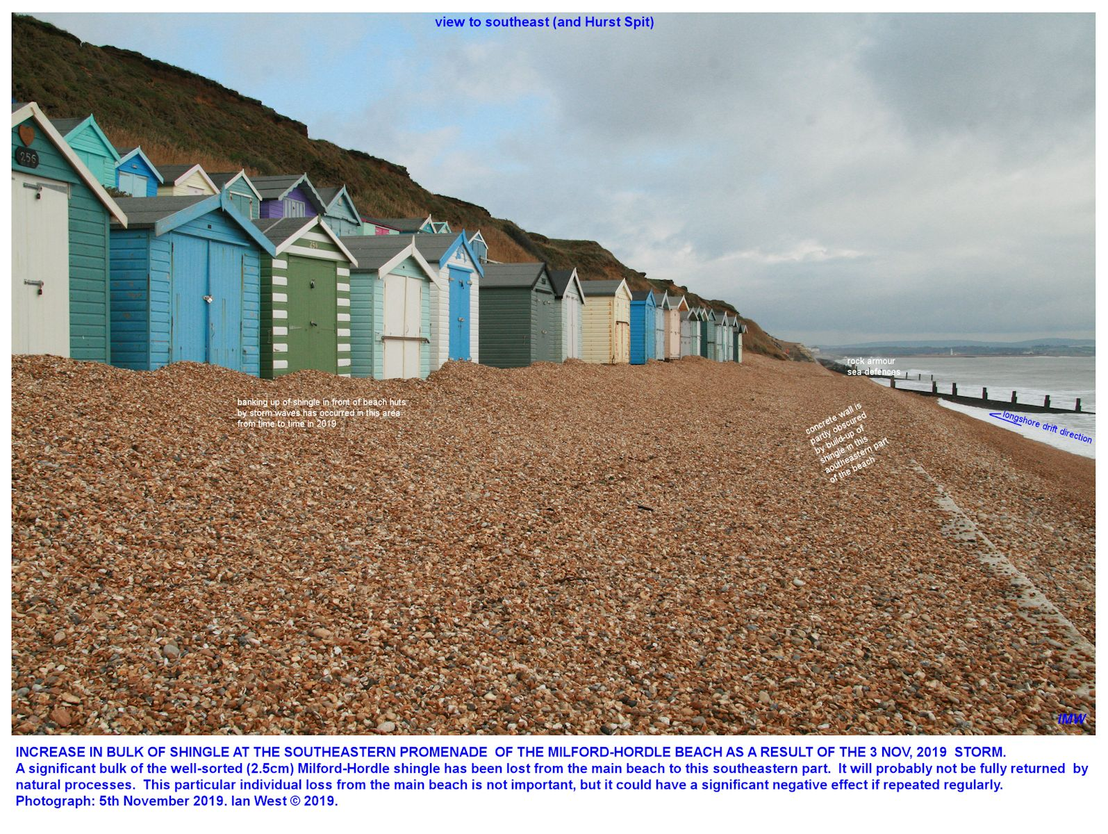 Some shingle accumulation in the southeastern part of the beach at the Milford - Hordle car park, 5th November 2019, Ian West