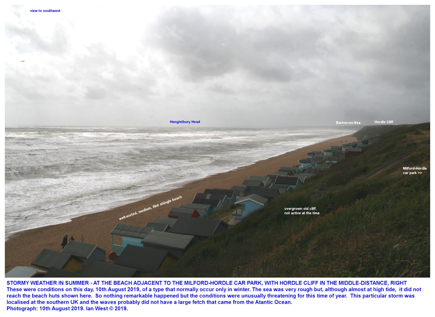 Unusually stormy weather in summer, at the Milford-Hordle car park and beach hut area, 10th August 2019