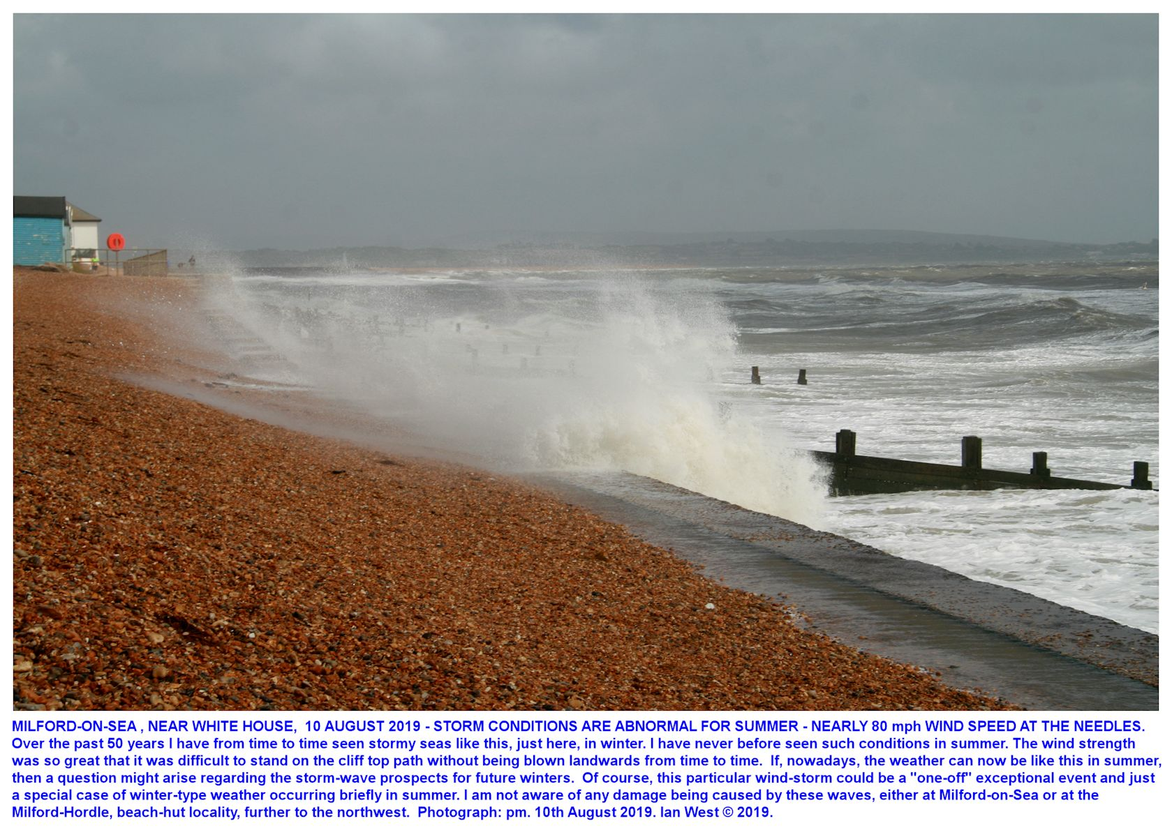 Stormy sea conditions, unusual in summer, just northwest of the White House, Milford-on-Sea, 10th August, 2019