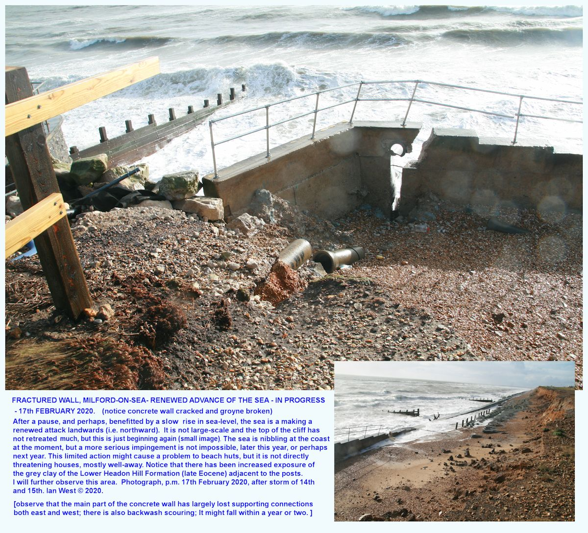 Old concrete sea defences, just west of the White House, Milford-on-Sea are fractured and might, perhaps, be prone to failure as the sea tries to continue its very slow, natural advance, bit-by-bit in a landward direction, seen 17th February 2020 after a major storm on the 14th and 15th February, 2020, Ian West