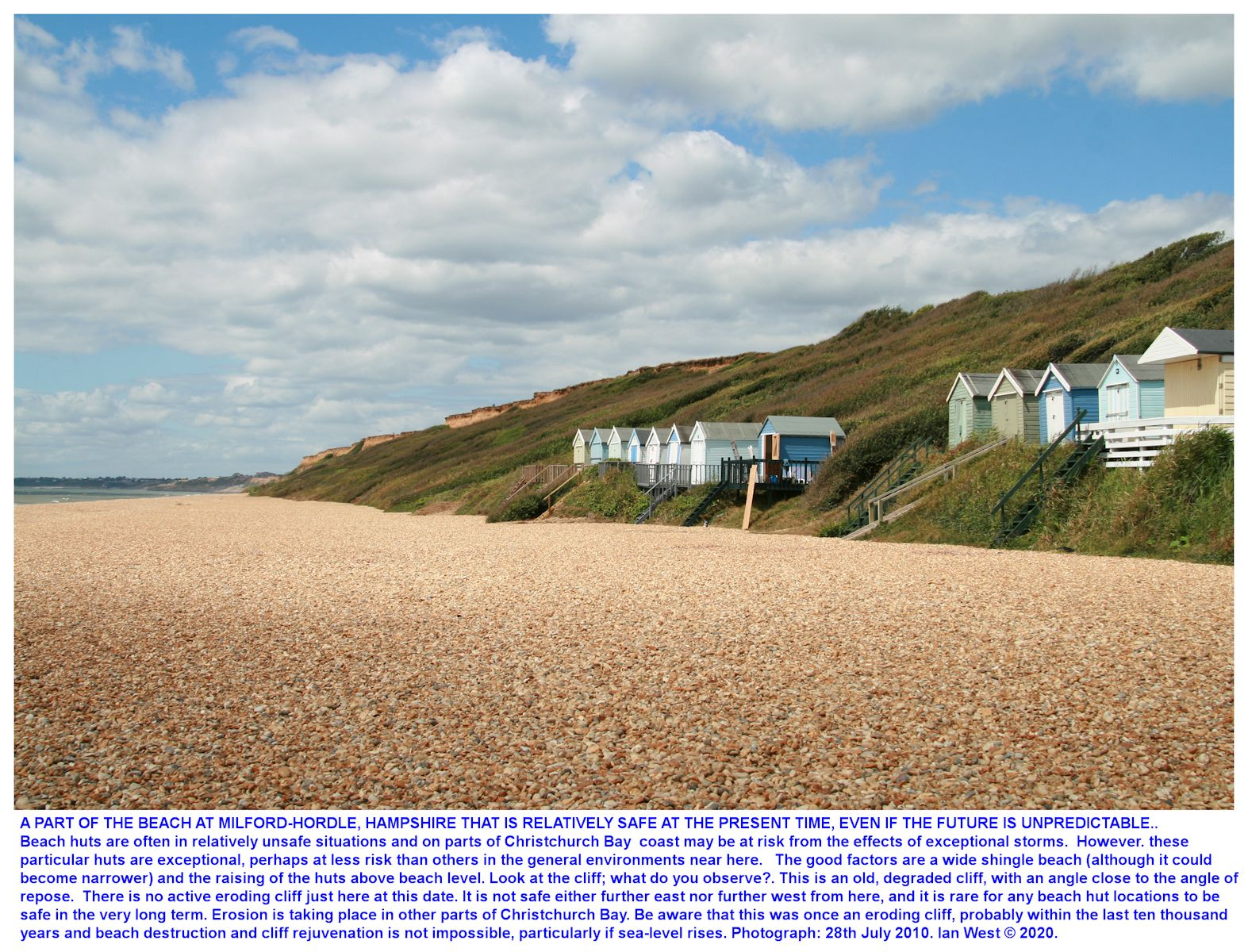 Beach huts in 2020 at a particular place in Milford-Hordle area where the shingle beach is very wide, this is just east of the main Hordle Cliff, with its narrow beach and eroding cliffs