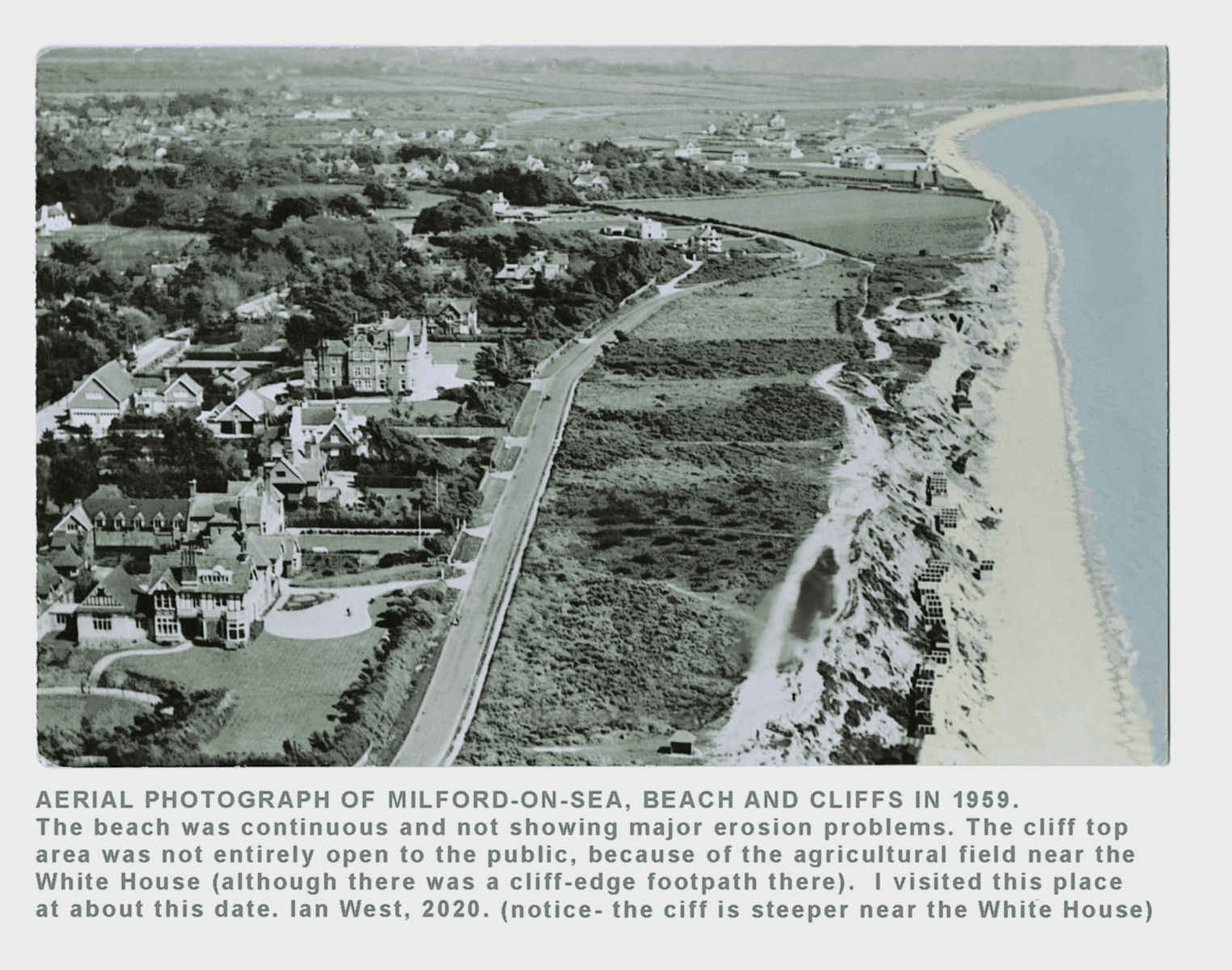 A 1959 aerial photograph of the cliffs at  Milford-on-Sea in 1959, copyright of Ian West