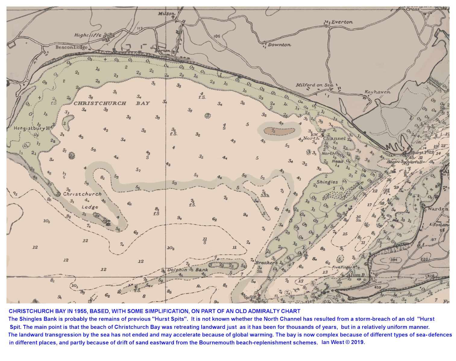 A chart of the sea floor of Christchurch Bay