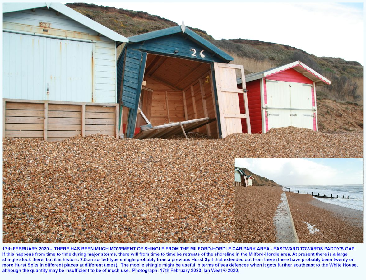 Some beach hut damage, to the east of Milford-Hordle car park, as seen on the 17th February 2020, Ian West