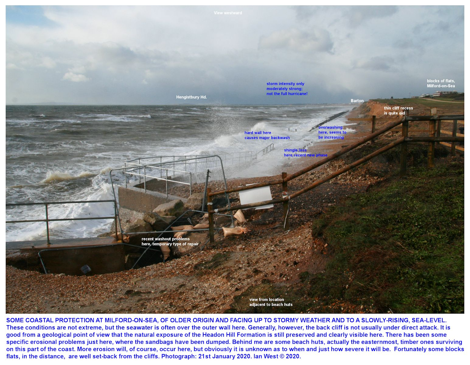 A westward view of the coast from the beach huts just west of the White House, Milford-on-Sea, in fairly stormy conditions, 2nd February 2020, Ian West