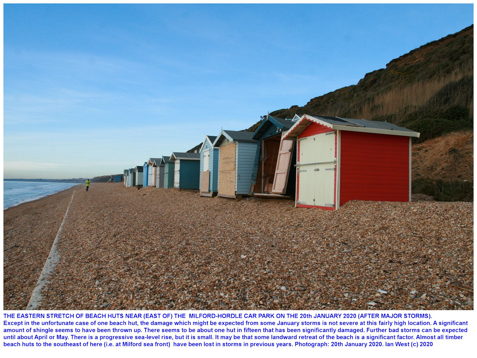 Some beach huts, with one of them damaged by wave action, east of Milford-Hordle car park, 20th January 2020, Ian West