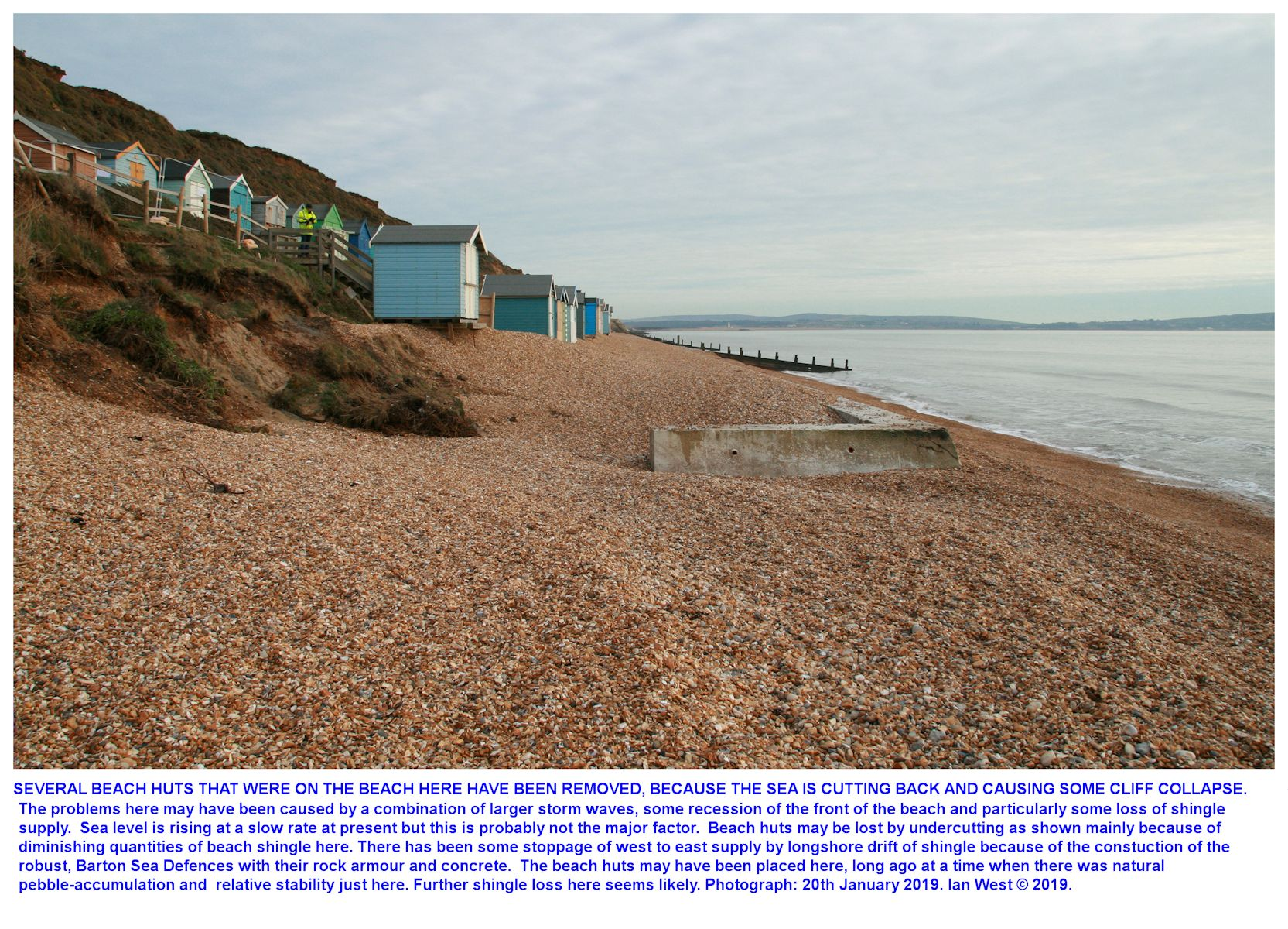 Shortage of beach shingle at the beach at the Milford-Hordle car park is leading to loss or removal of some beach huts here, as seen in January 2020