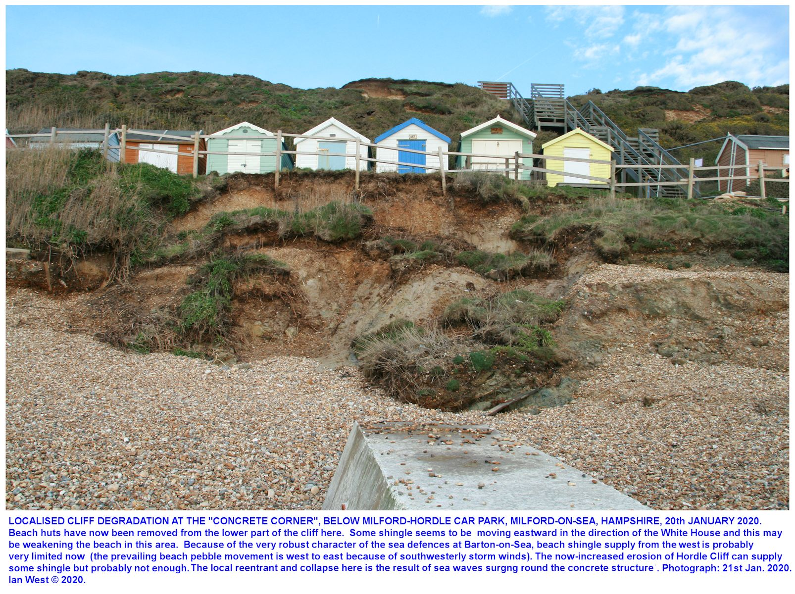 Localised increased, cliff erosion adjacent to a concrete corner structure, a type of sea-wall, seaward of the eastern end of the Hordle-Milford car park, as seen on the 20th January 2020