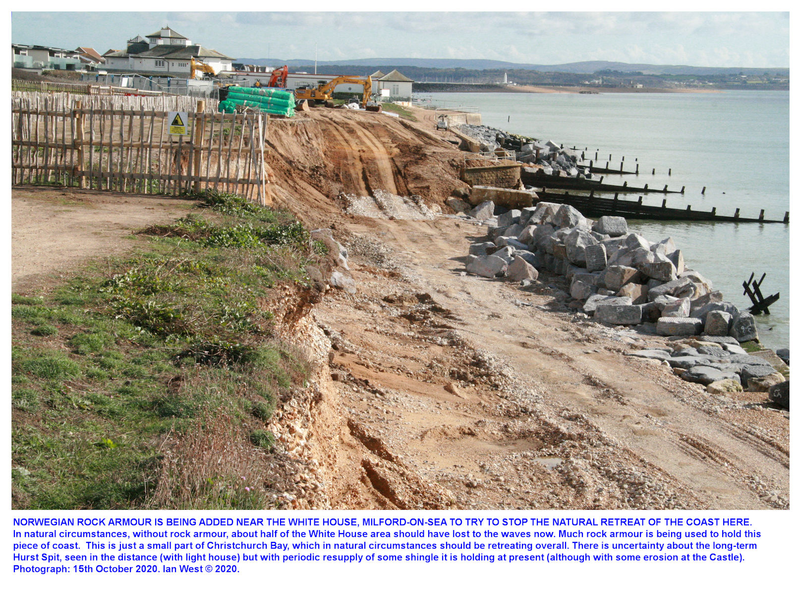 Work in progress on repair of an erosional gap in the sea defences, near the White House, 15th October, 2020, Ian West