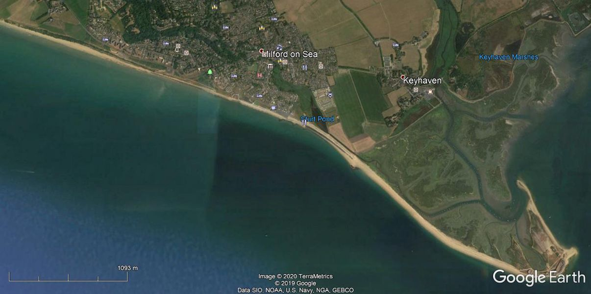 A recent GE map of Milford-on-Sea and Hurst Spit