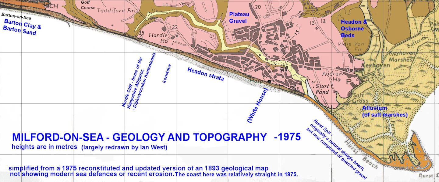 A geological map of Milford-on-Sea and Hurst Spit, as it was in the past, before recent sea-defences and other changes