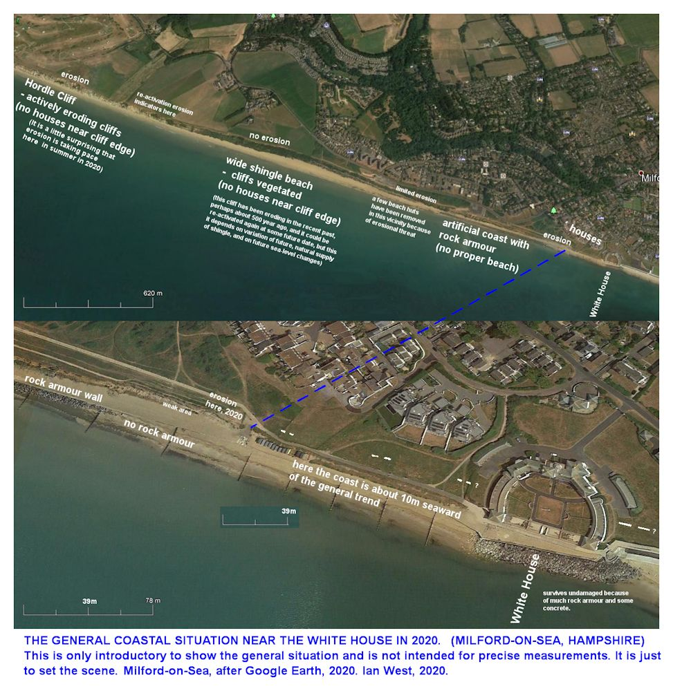 An aerial view of the coast at Milford-on-Sea, from the  White House area in a westward direction, as in the year 2020, and based on Google Earth, Ian West