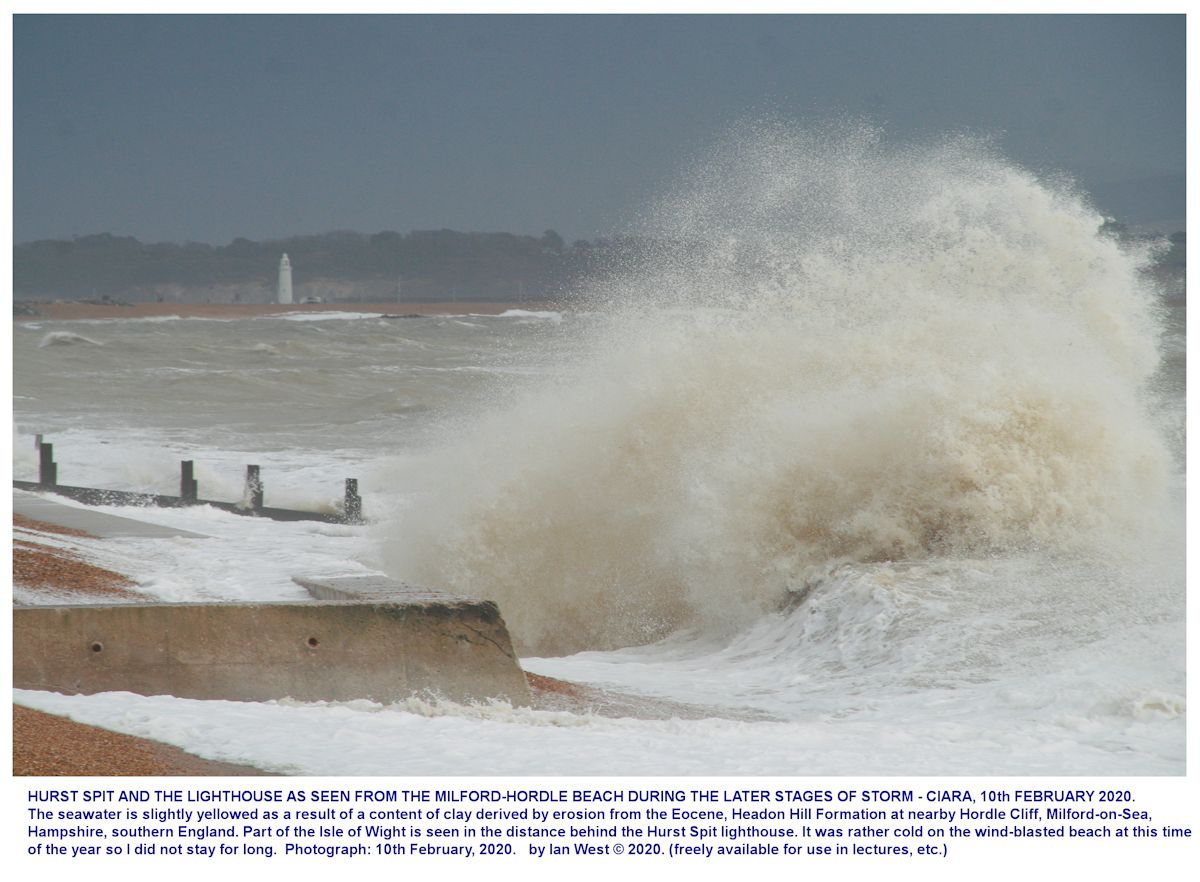 A very stormy and rather muddy sea, seen near the Milford-Hordle car park, Milford-on-Sea, 10th February, 2020, Ian West