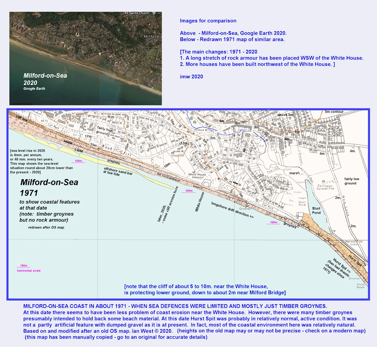 Map and aerael photograph, showing changes at the coast at Milford-on-Sea from the 1970s