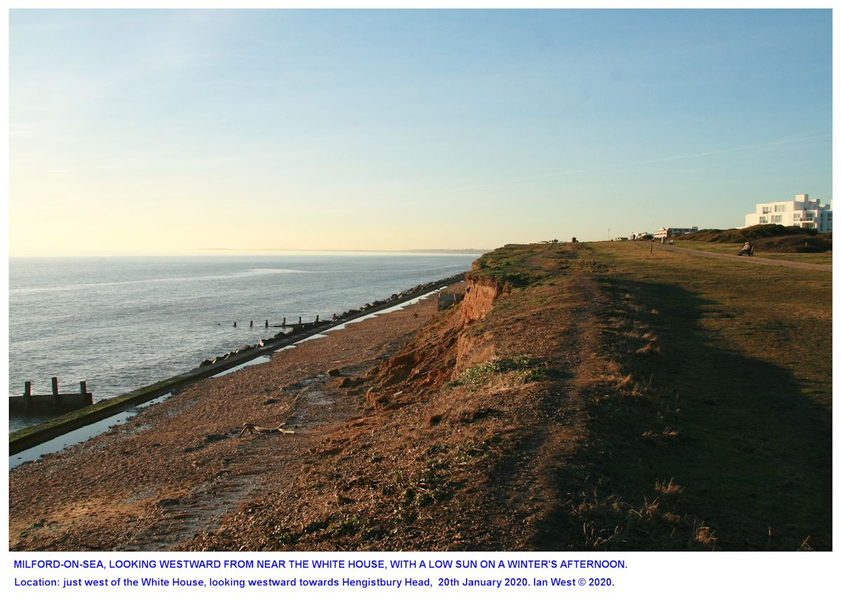 Milford-on-Sea, Hampshire, just west of the White House, looking westward, late in the afternoon, with a low sun, 20th January 2020