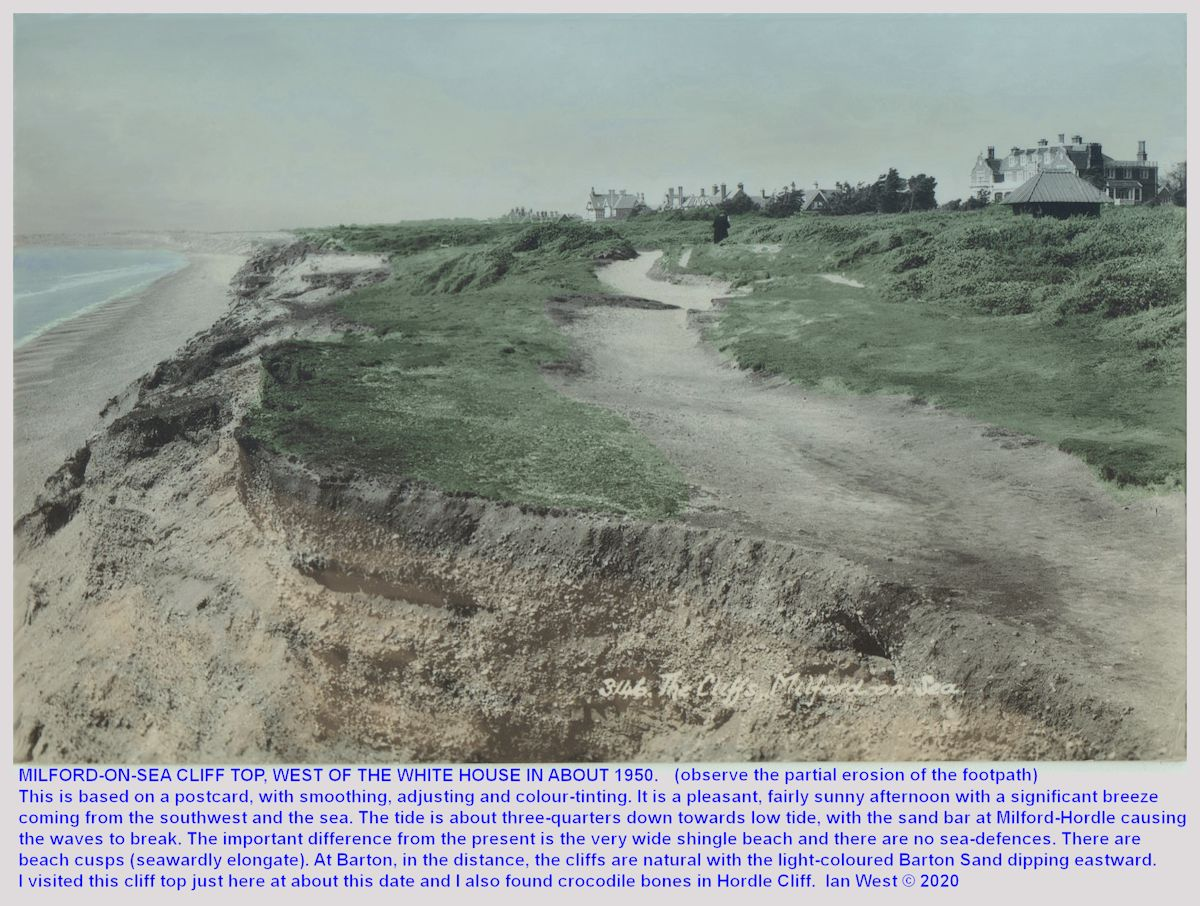 A photograph of the cliffs to the west of the White House, Milford-on-Sea in the 1950s, when there was still quite a wide beach, particularly at low tide, image enlarged, worked-over, adjusted, coloured and uploaded 13th February, copyright of Ian West