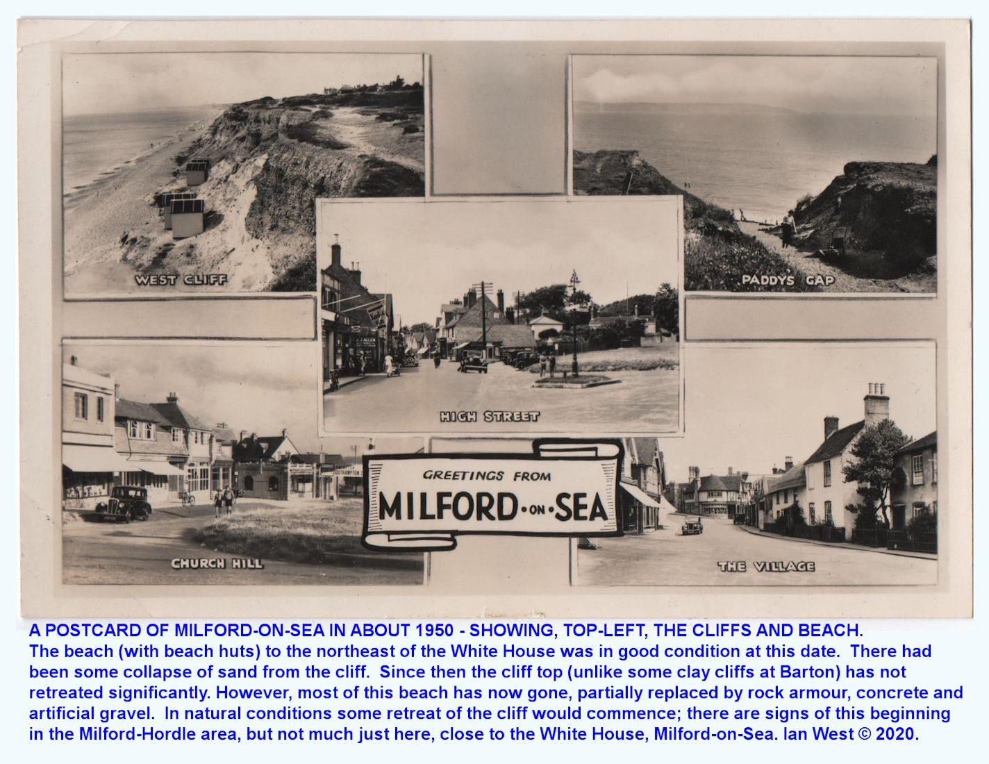 Old postcard views, from about 1950, of Milford-on-Sea, showing in one case, the beach with beach huts which was originally present, almost adjacent to the White House