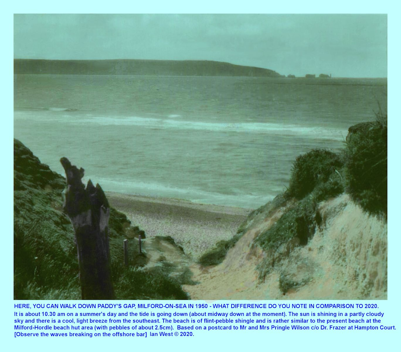 Paddys Gap, access to the pebble beach, at Milford-on-Sea. as seen in the 1950s and showing the fairly wide,  pebble beach which exited there at that time, rather than the concrete and rock armour which now replaces it, Ian West