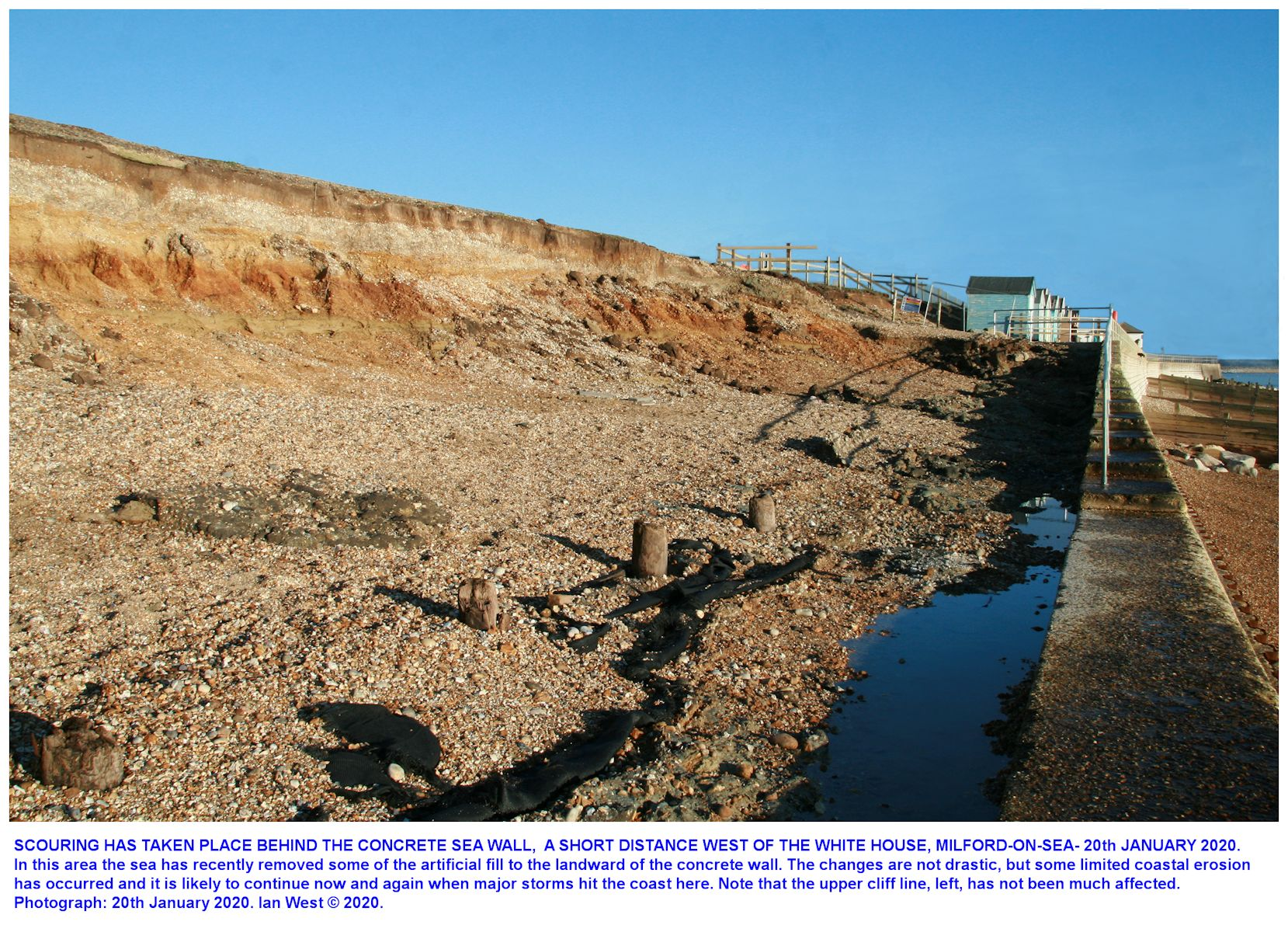 Details of some erosion to the west of the White House, Milford-on-Sea, Hampshire, as seen on the 20th January 2020