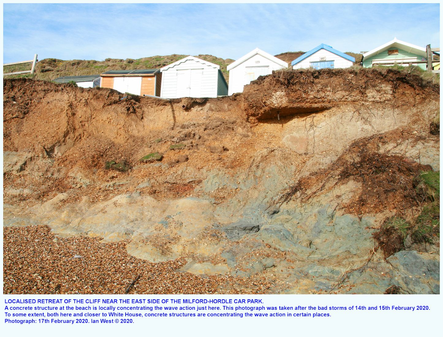 Erosion at the cliff to the southwest of the Hordle-Milford car park, as seen on the 17th January 2020