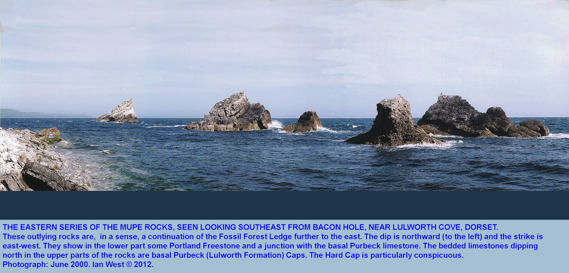 The eastern Mupe Rocks, Mupe Bay, Dorset, in 2002