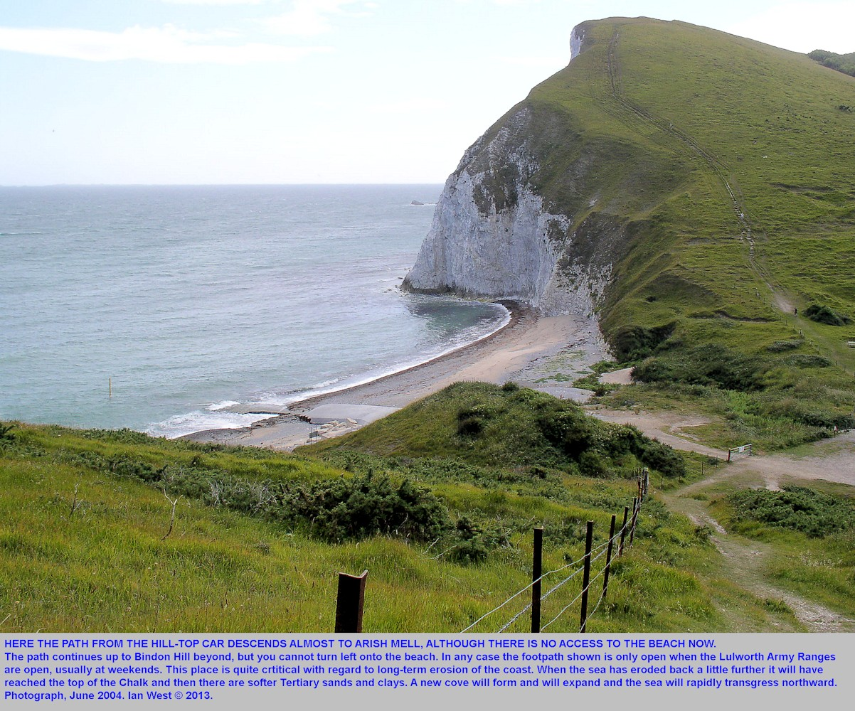 A general view of Arish Mell, Mupe Bay, Dorset descending the footpath from the east side, 2004