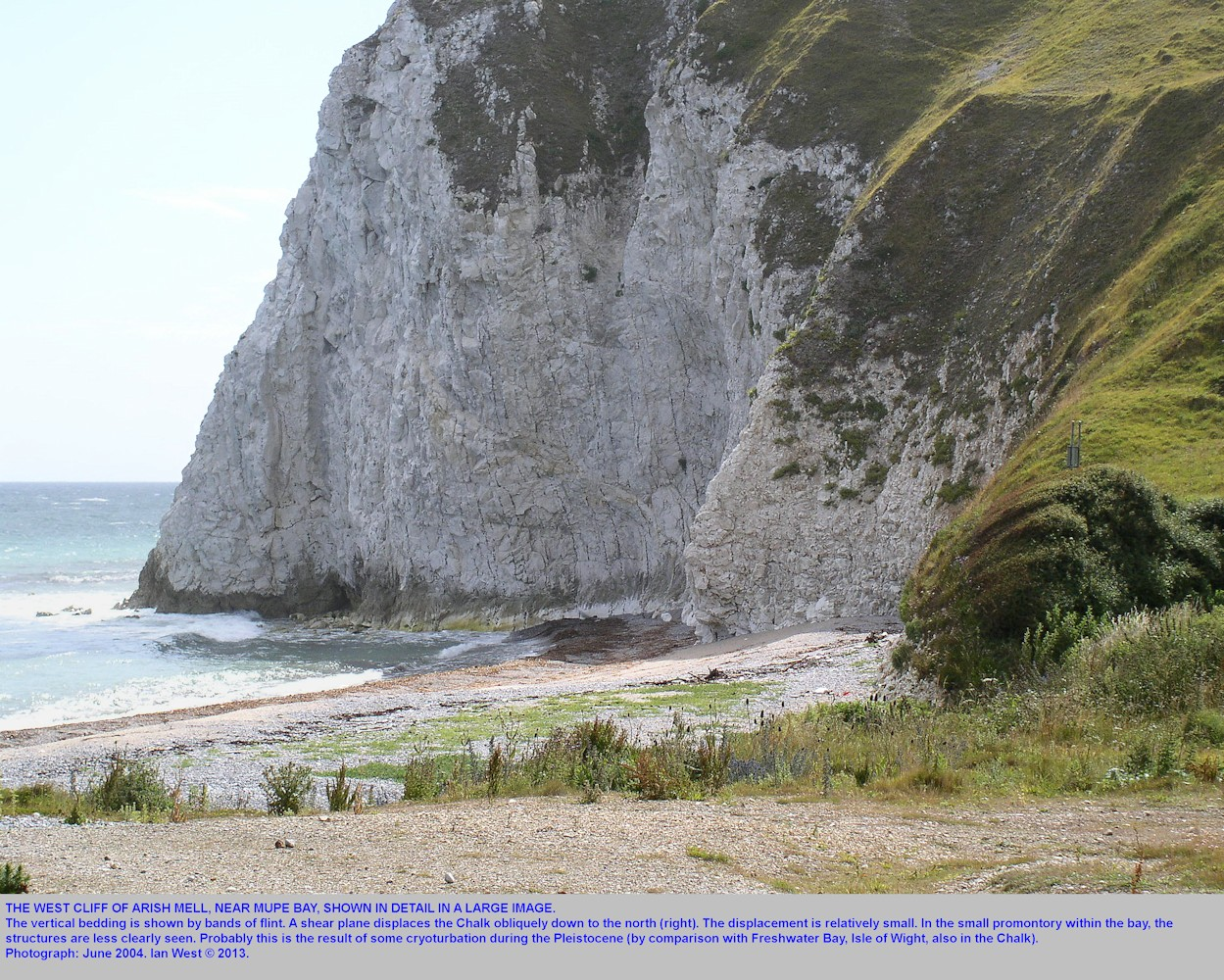 A large, detailed view of the west cliff of Arish Mell, near Mupe Bay, Dorset