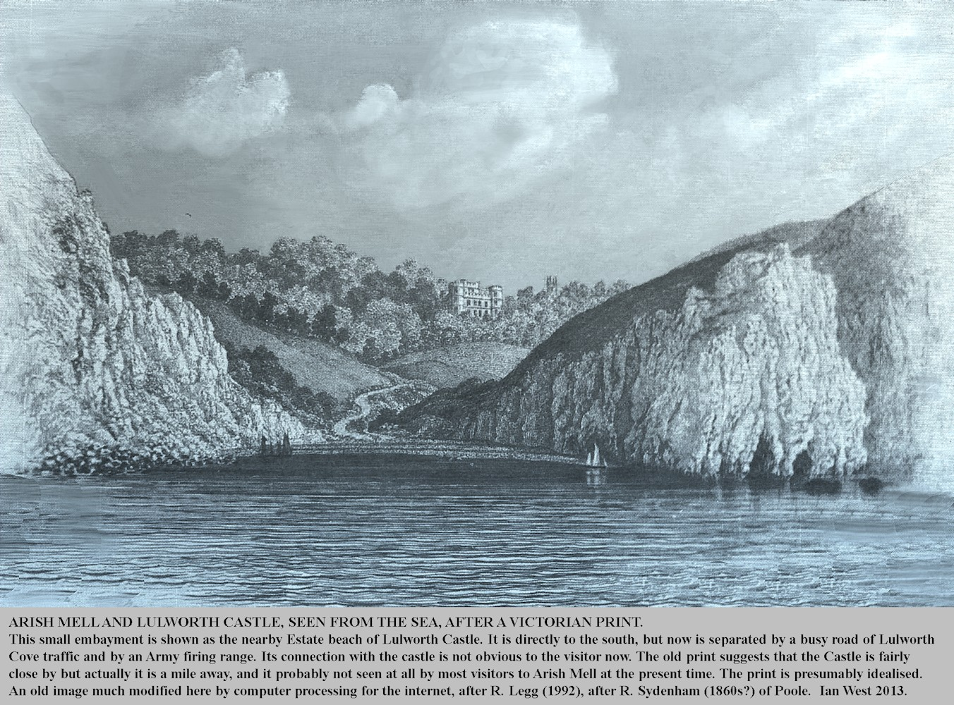 A Victorian print of Arish Mell, Lulworth, Dorset, originally somewhat idealised, and now modified for the computer