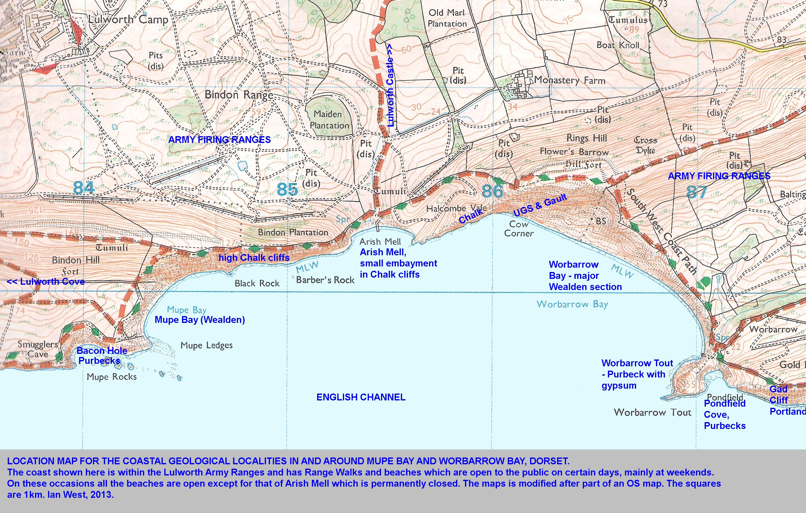 A location map showing the main geological localities around Mupe Bay Arish Mell Worbarrow  sc 1 st  University of South&ton & Mupe Bay and Bacon Hole - Geology by Ian West.
