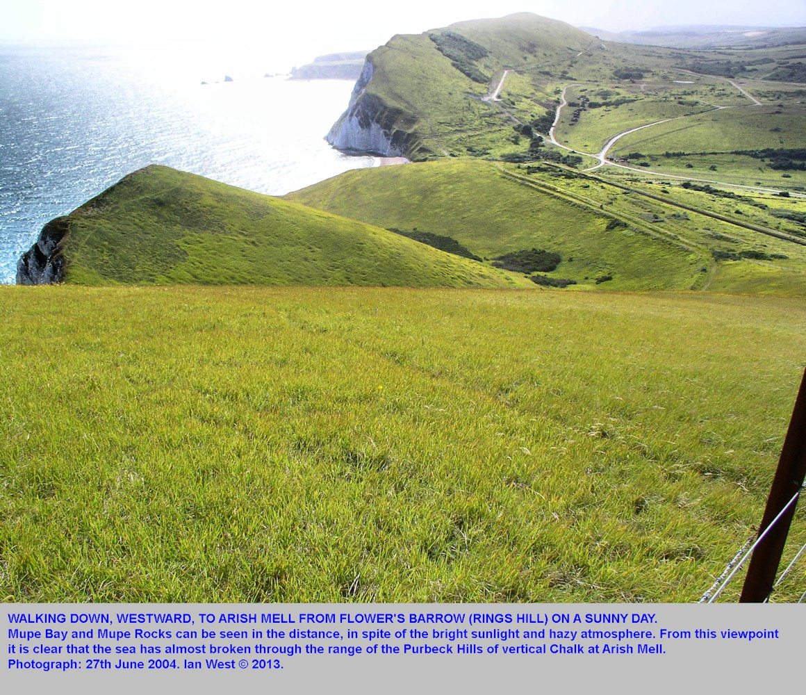 Walking westward to Arish Mell from Flower's Barrow, or Rings Hill, Isle of Purbeck, Dorset