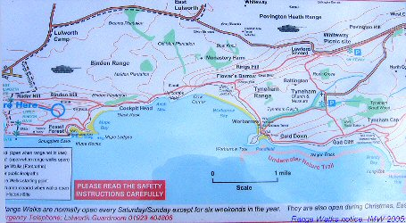 Notice showing details of Range Walks at Mupe Bay, Dorset