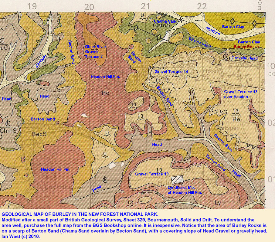 Part of the geological map, Sheet 329, showing the relationship of the Burley rock to the geology of the Burley area