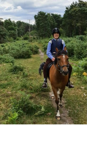 Ian West on his riding pony in the New Forest, Hampshire, 2020