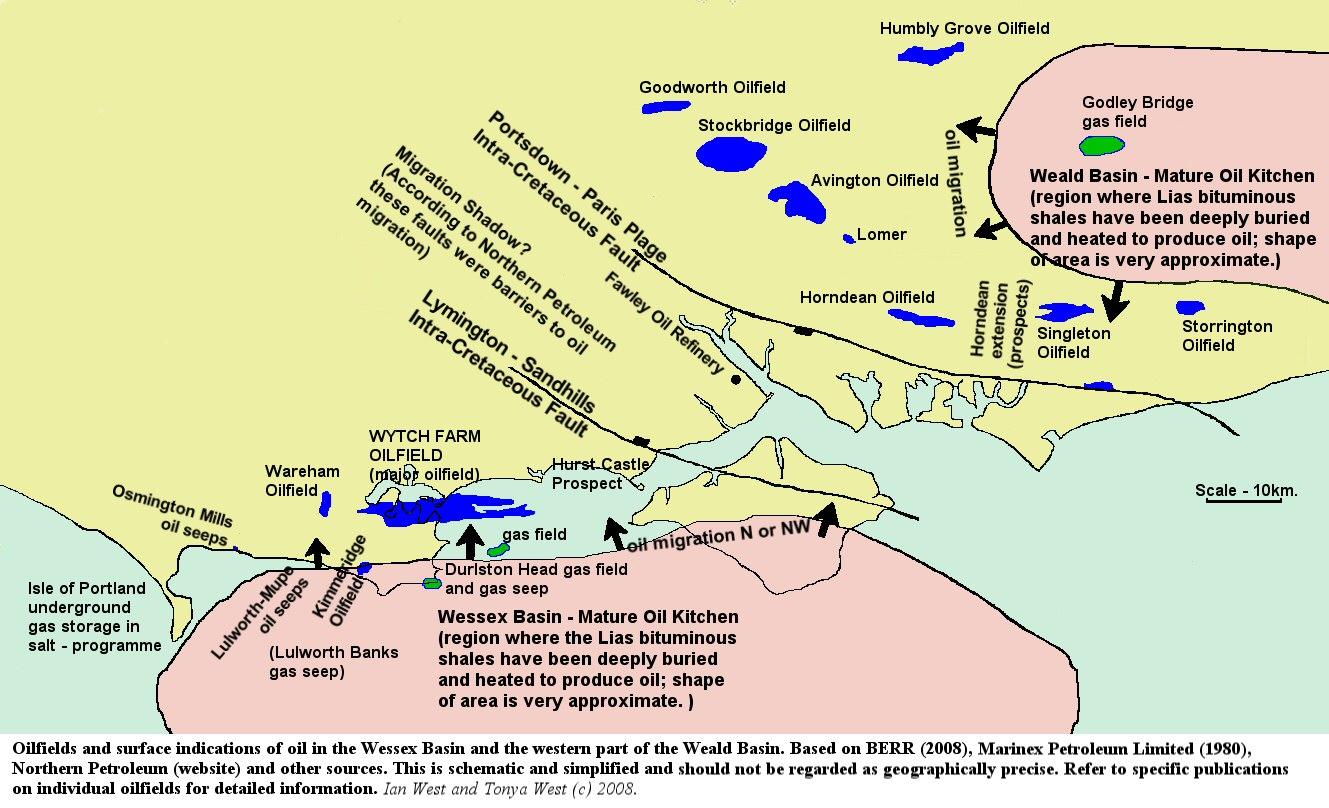 Map Of Uk Oil Fields.Petroleum Geology The Portland Isle Of Wight Basin