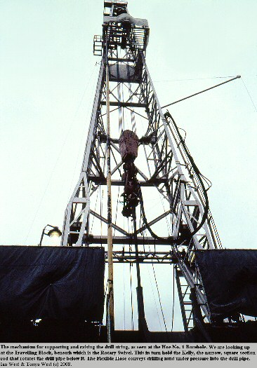 The travelling block, the rotary swivel, the kelly and the flexible hose on a derrick at Hoe Lane, North Baddesley, near Southampton, Hampshire, in the 1980s, Amoco