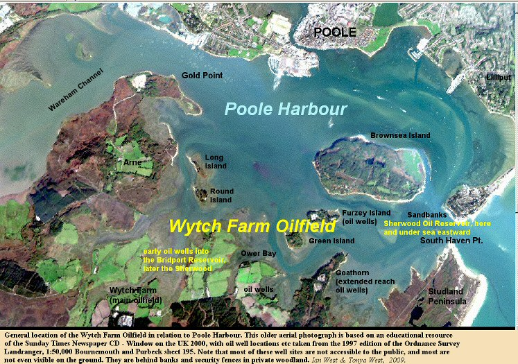 Poole Harbour, Dorset, England, shown on an older aerial photograph with the location of the Wytch Farm Oilfield indicated