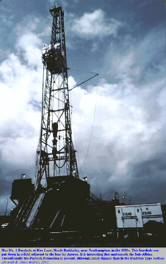 Exploration borehole at Hoe Lane, North Baddesley, near Southampton, Hampshire, in the 1980s, Amoco