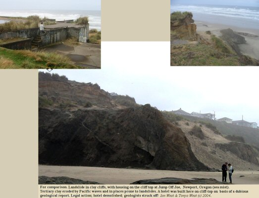 The classic case of a building placed too close to a cliff edge - Jump Off Joe, near Newport, Oregon, USA
