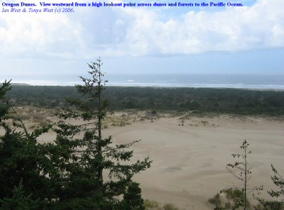 Oregon Dunes, view westward to the Pacific Ocean