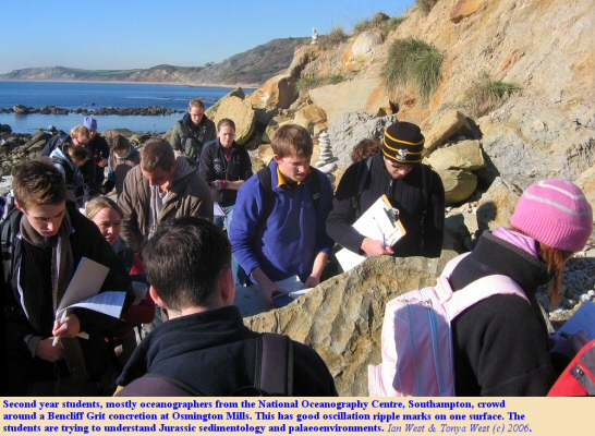 Second year students from the National Oceanography Centre, Southampton, mostly oceanographers, crowd around a Bencliff Grit concretion at Osmington Mills, Dorset, 2006