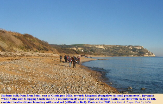 Students walk easst beyond Bran Point, near Osmington Mills, Dorset, towards Ringstead, with White Nothe in the distance