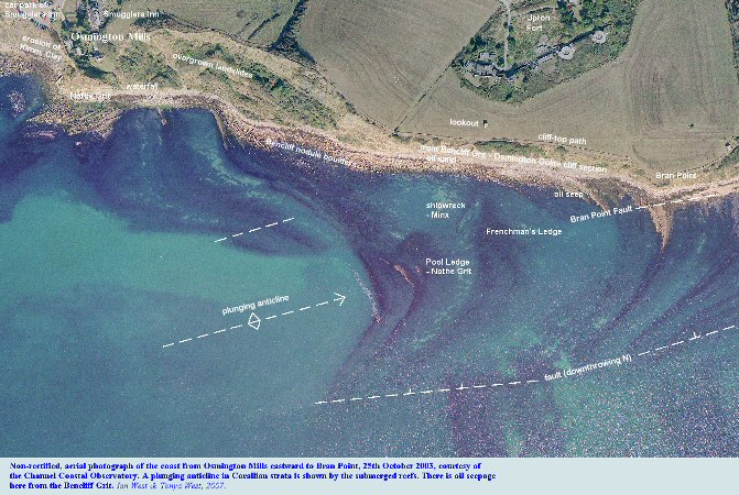 Aerial photograph, courtesy of the Channel Coastal Observatory of the coast between Osmington Mills and Bran Point, Dorset