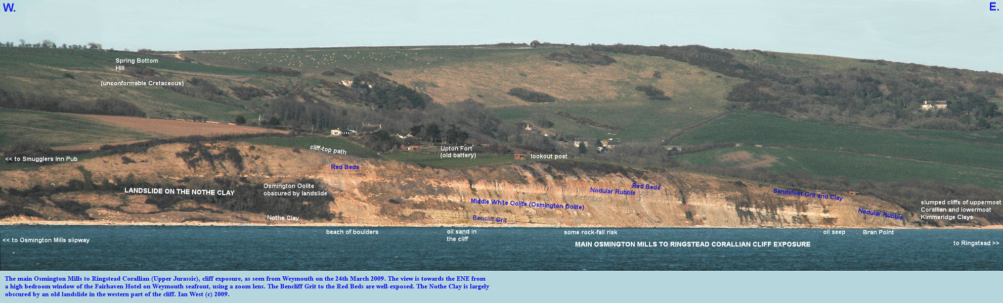 The main cliff exposure of Corallian (Upper Jurassic) strata between Osmington Mills, and Ringstead, Dorset, viewed from Weymouth in evening light, 24th March 2009