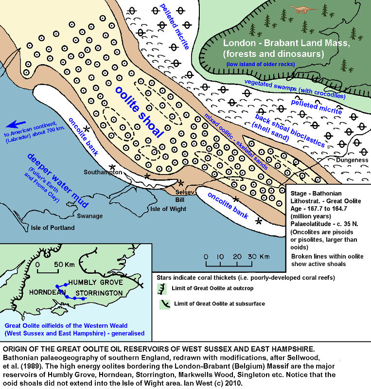 Origin of the Great Oolite oil reservoirs of southern England, Bathonian palaeogeography, after Sellwood