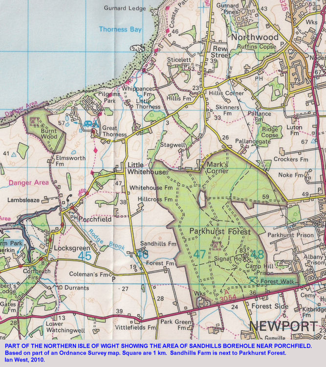 Location map for the Sandhills Borehole into the Middle Jurassic and the Sherwood Sandstone, Isle of Wight